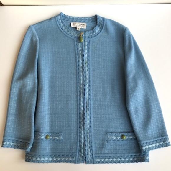 Classic St. John Light Blue Knit Jacket